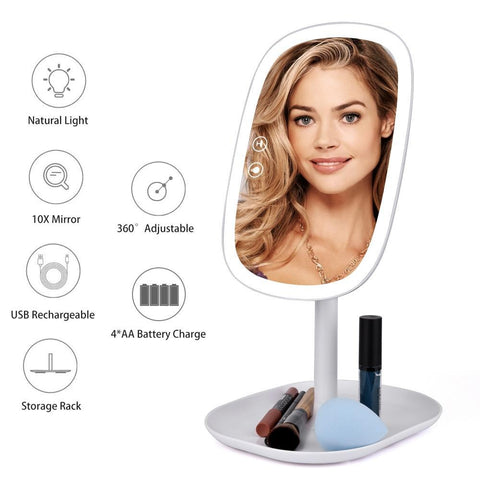 PINkart-USA 47 Led Lights 360 Rotating Desktop Mirror Touch Screen Makeup Mirror Professional Vanity Mirror