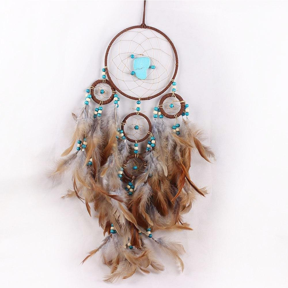 PINkart-USA 5 Rings Handmade Feather Dreamcatcher Wind Chimes Feather Pendant Turquoise Dream Catcher