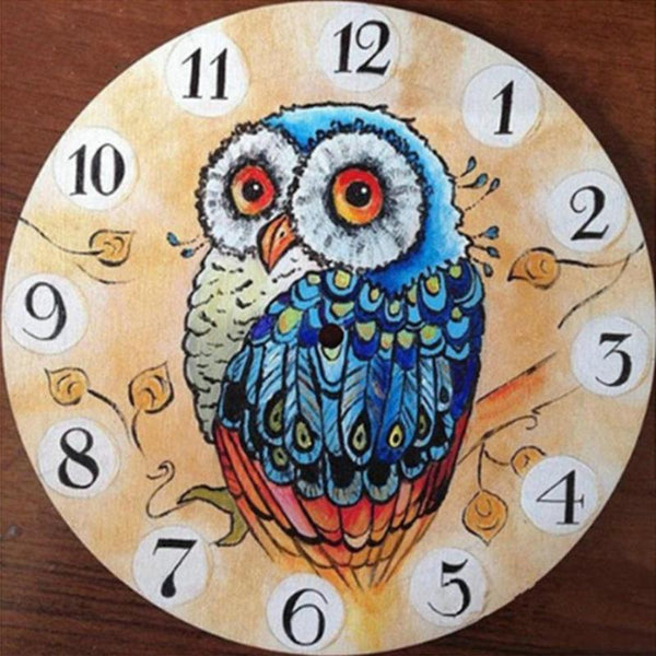 PINkart-USA 5D Diy Full Drill Diamond Painting Animal Wall Clock Cross Stitch Embroidery Craft Kits