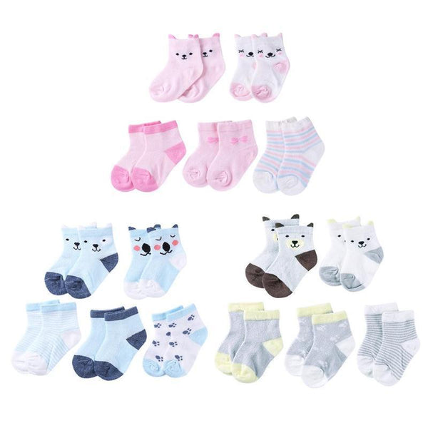 PINkart-USA 5Pairs/Lot Cartoon Toddlers Kids Socks Cute Baby Boys Girls Cotton Socks Baby Boys Girls Sock