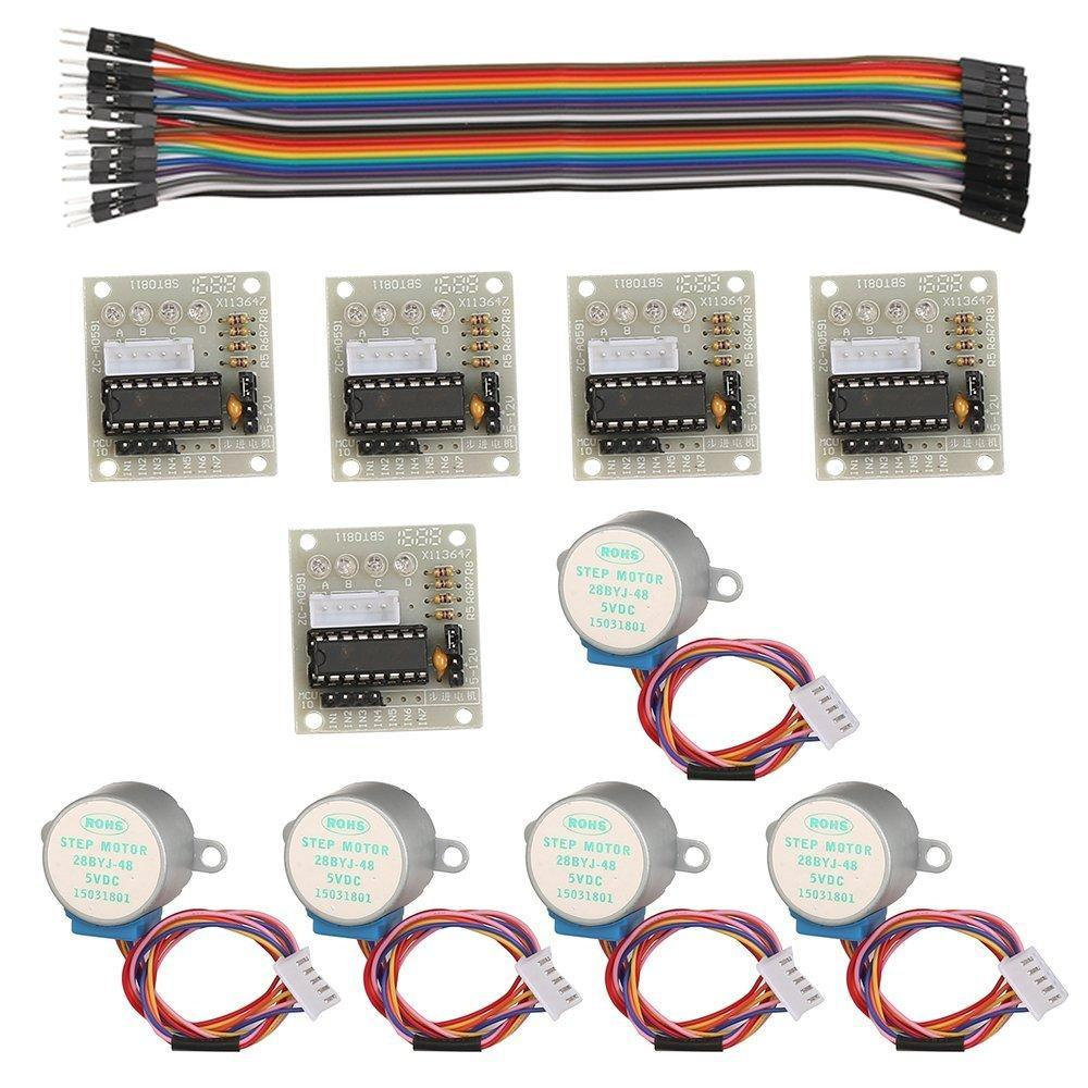 PINkart-USA 5Pcs/Sets 28Byj-48 Uln2003 5V Gear Stepper Motor + Uln2003 Driver Board For Arduino