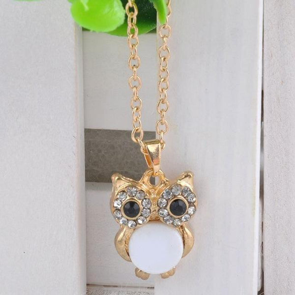 PINkart-USA 7 Lnrrabc Women Sweater Chain Necklace Owl Design Rhinestones Crystal Pendant Necklaces Jewelry