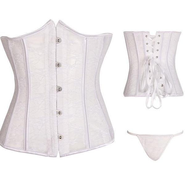 PINkart-USA 824 white / XXXL / China Steampunk Corset With Steel Boned Lace Up Back Sexy Body Bustier Overbust Corset Women Waist