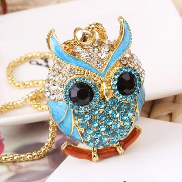 PINkart-USA 9 Lnrrabc Women Sweater Chain Necklace Owl Design Rhinestones Crystal Pendant Necklaces Jewelry