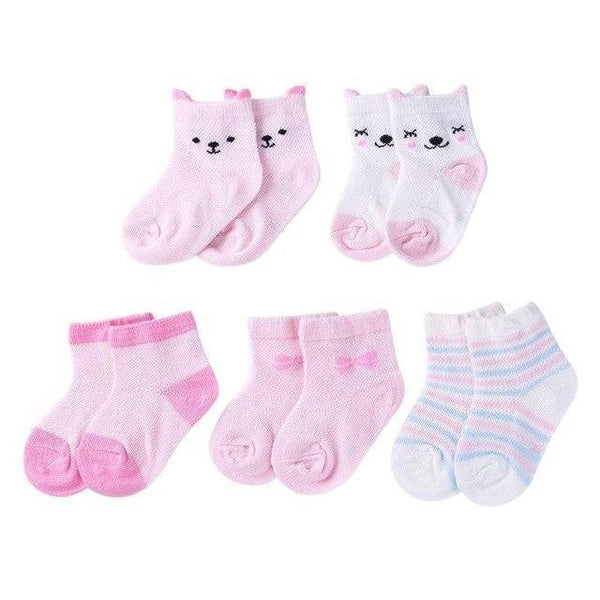 PINkart-USA A / S 5Pairs/Lot Cartoon Toddlers Kids Socks Cute Baby Boys Girls Cotton Socks Baby Boys Girls Sock