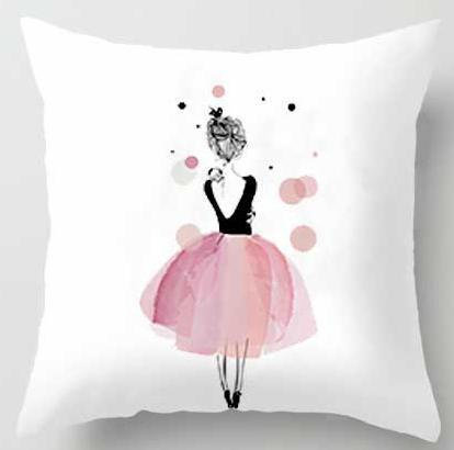 PINkart-USA A1 / 45x45cm Just Cover Pink Girl Princess Cushion Paris Flower Eiffel Tower Wave Flamingo Feathers Ballon Plush Fabric