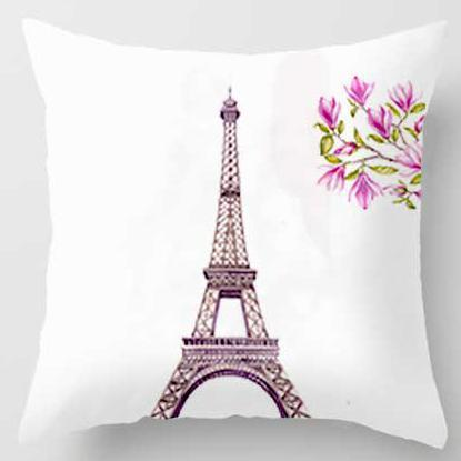 Pink Girl Princess Cushion Paris Flower Eiffel Tower Wave Flamingo Feathers Ballon Plush Fabric