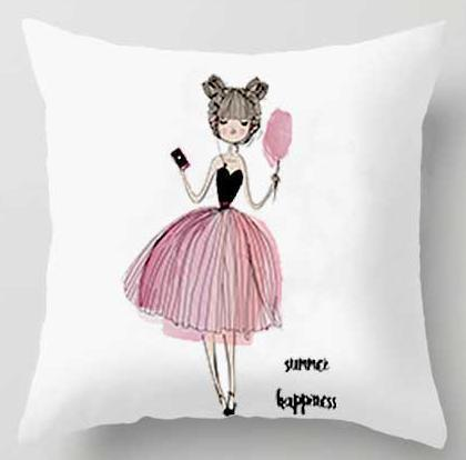 PINkart-USA A4 / 45x45cm Just Cover Pink Girl Princess Cushion Paris Flower Eiffel Tower Wave Flamingo Feathers Ballon Plush Fabric