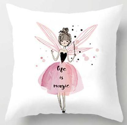 PINkart-USA A6 / 45x45cm Just Cover Pink Girl Princess Cushion Paris Flower Eiffel Tower Wave Flamingo Feathers Ballon Plush Fabric