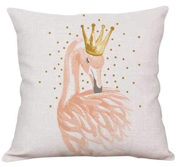 PINkart-USA A8 / 45x45cm Just Cover Pink Girl Princess Cushion Paris Flower Eiffel Tower Wave Flamingo Feathers Ballon Plush Fabric