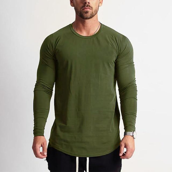PINkart-USA Army Green / L Fashion Long Sleeve T Shirt Men Sporting T-Shirt Men Fitness Crossfit Men'S Solid O-Neck Gyms