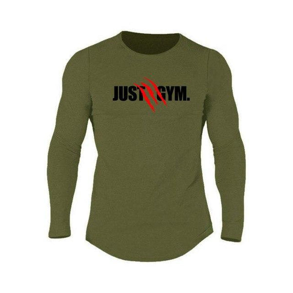 PINkart-USA Army Green / L Muscle Guys Mens Sporting O-Neck Long Sleeve T Shirt Homme Autumn Bodybuilding Fitness Clothing