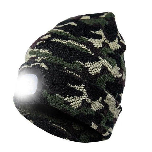 PINkart-USA Army Green Led Headlamp Beanie Cap Rechargeable Lighted Hat With Led Head Light Flashlight For Outdoor Evening