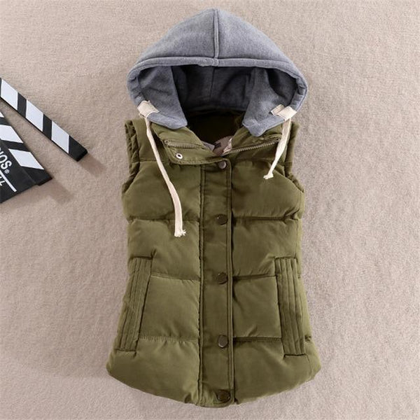 PINkart-USA Army green / M Winter Women'S V Slim Cotton Waistcoat For Women Coletes Female V Jacket Coat Red Warm Down