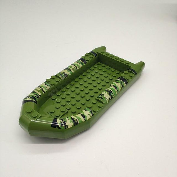 PINkart-USA Army Green Military Assault Boat Model Building Blocks Compatible Soliders Weapons Blocks Army Swat Police
