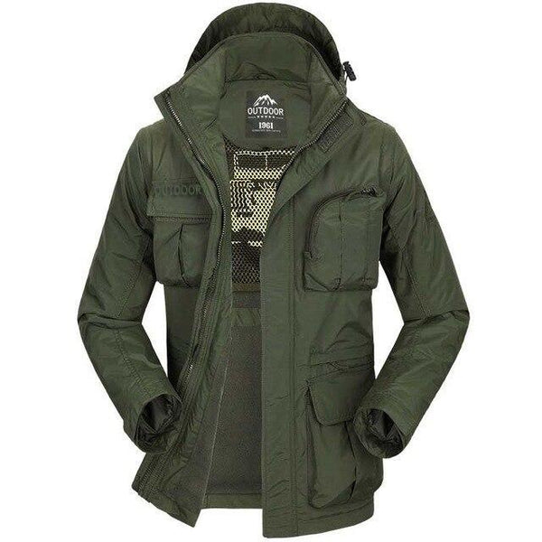 PINkart-USA Army Green / XL Autumn Winter Military Windbreaker Jacket Men Casual Outwear Coat Hat And Sleeve Detachable