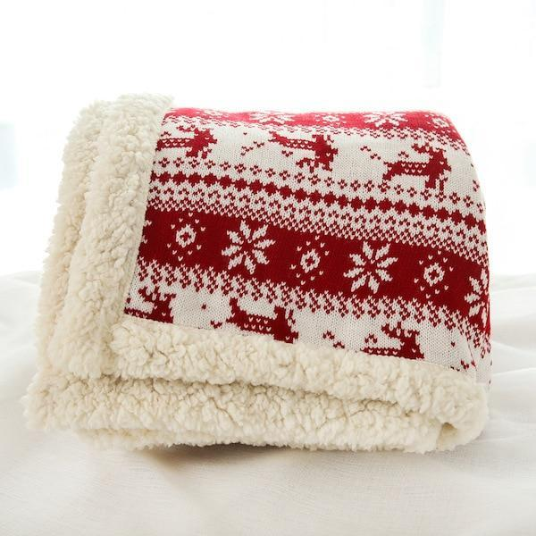 Lambskin Large Warm Thick Owl Christmas Elk Throw Blanket Coverlet Reversible Fuzzy Plaid On The