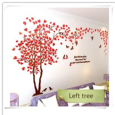 PINkart-USA as photo 2 / M 1.3x2.5m 3D Tree Acrylic Mirror Wall Sticker Decals Diy Art Tv Background Wall Poster Bedroom Living Room