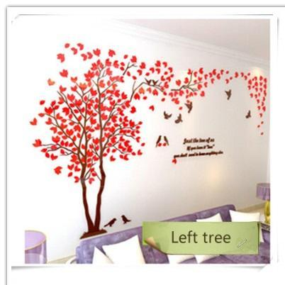 PINkart-USA as photo 2 / M 1.3x2.5m 3D Wall Sticker Tree Acrylic Decorative Diy Art Tv Background Wall Poster Home Decor Bedroom Living