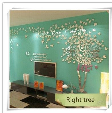 PINkart-USA as photo 3 / M 1.3x2.5m 3D Tree Acrylic Mirror Wall Sticker Decals Diy Art Tv Background Wall Poster Bedroom Living Room