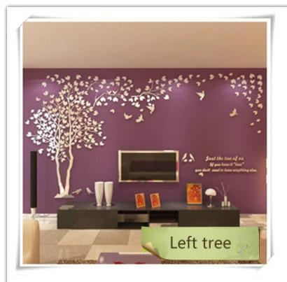 PINkart-USA as photo 4 / M 1.3x2.5m 3D Tree Acrylic Mirror Wall Sticker Decals Diy Art Tv Background Wall Poster Bedroom Living Room