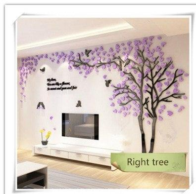 PINkart-USA as photo / M 1.3x2.5m 3D Tree Acrylic Mirror Wall Sticker Decals Diy Art Tv Background Wall Poster Bedroom Living Room