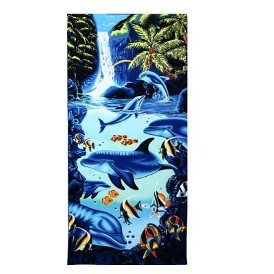 PINkart-USA as photos 20 / 70x140cm Men Big Beach Towels Tiger Horse Dolphin Microfiber Fabric 70*140Cm Bath Towel Hotel Large Beach