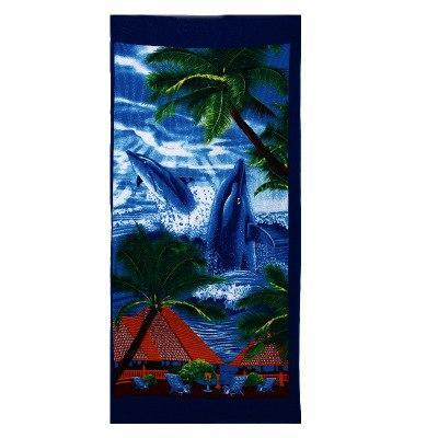 PINkart-USA as photos 8 / 70x140cm Men Big Beach Towels Tiger Horse Dolphin Microfiber Fabric 70*140Cm Bath Towel Hotel Large Beach