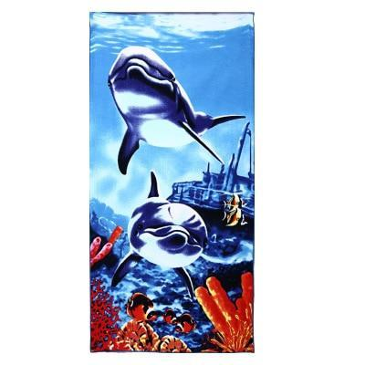 PINkart-USA as photos 9 / 70x140cm Men Big Beach Towels Tiger Horse Dolphin Microfiber Fabric 70*140Cm Bath Towel Hotel Large Beach