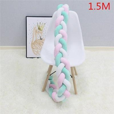 PINkart-USA as picture 1.5M 1 1.5M/2M Baby Crib Protector Knot Baby Bed Bumper Weaving Plush Infant Crib Cushion For Borns
