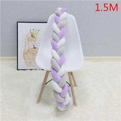 PINkart-USA as picture 1.5M 1.5M/2M Baby Crib Protector Knot Baby Bed Bumper Weaving Plush Infant Crib Cushion For Borns