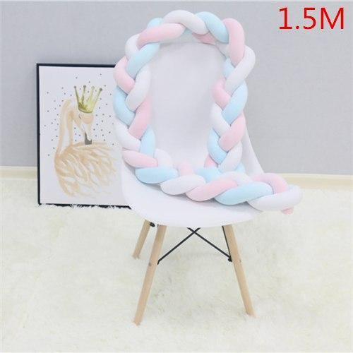 PINkart-USA as picture 1.5M 2 1.5M/2M Baby Crib Protector Knot Baby Bed Bumper Weaving Plush Infant Crib Cushion For Borns