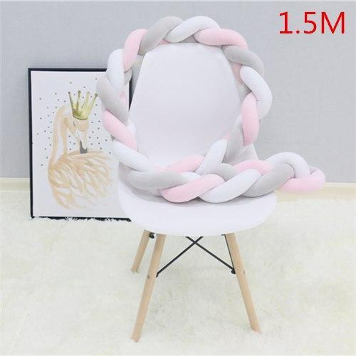 PINkart-USA as picture 1.5M 3 1.5M/2M Baby Crib Protector Knot Baby Bed Bumper Weaving Plush Infant Crib Cushion For Borns