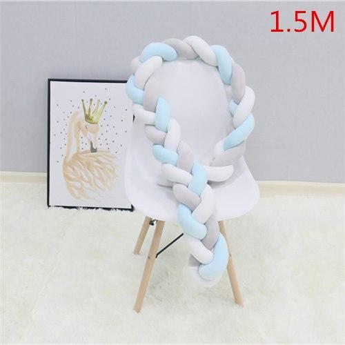 PINkart-USA as picture 1.5M 4 1.5M/2M Baby Crib Protector Knot Baby Bed Bumper Weaving Plush Infant Crib Cushion For Borns