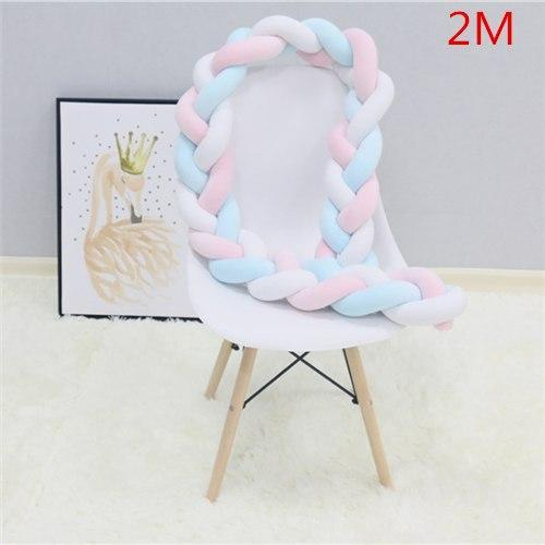 PINkart-USA as picture 2M 1.5M/2M Baby Crib Protector Knot Baby Bed Bumper Weaving Plush Infant Crib Cushion For Borns