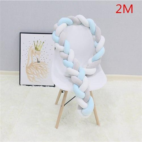 PINkart-USA as picture 2M 2 1.5M/2M Baby Crib Protector Knot Baby Bed Bumper Weaving Plush Infant Crib Cushion For Borns