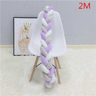 PINkart-USA as picture 2M 5 1.5M/2M Baby Crib Protector Knot Baby Bed Bumper Weaving Plush Infant Crib Cushion For Borns