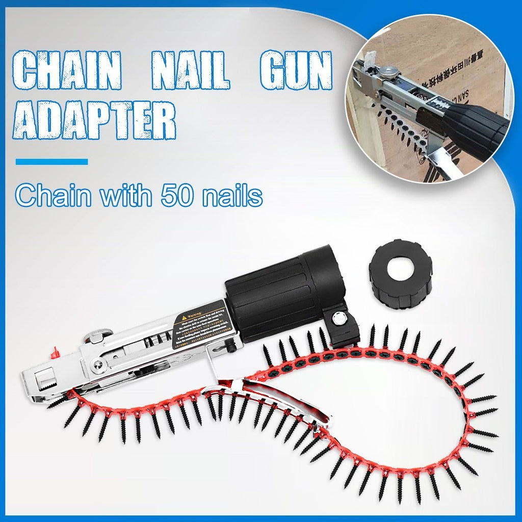 PINkart-USA Automatic Chain Nail Gun Adapter Screw Gun For Electric Drill Woodworking Tool Cordless Power Drill