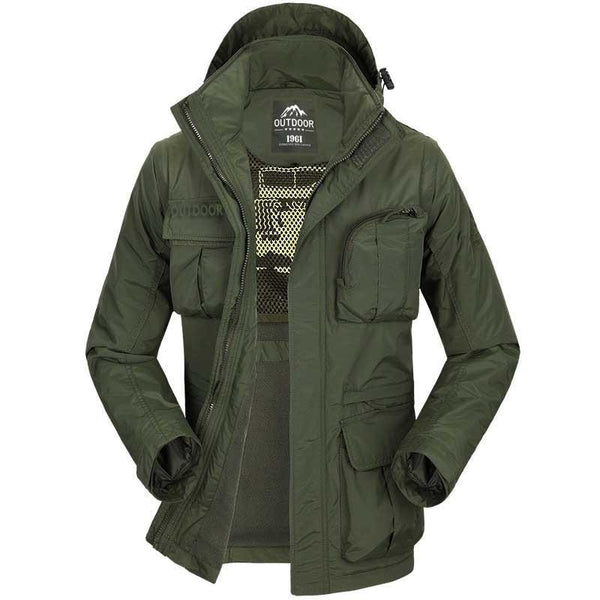 PINkart-USA Autumn Winter Military Windbreaker Jacket Men Casual Outwear Coat Hat And Sleeve Detachable