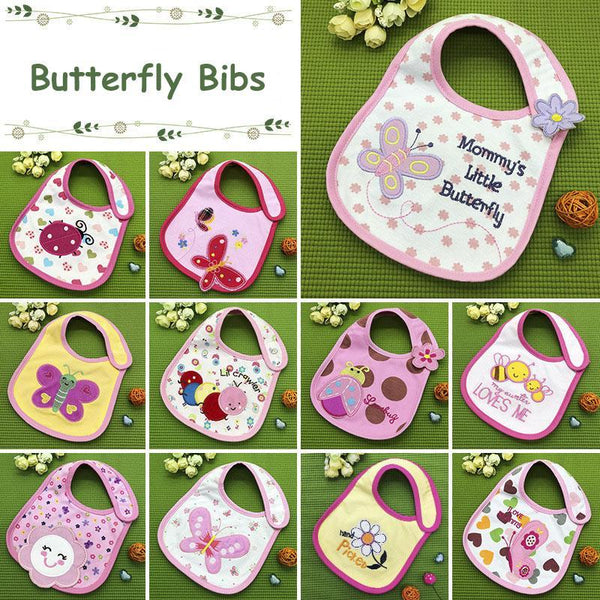 PINkart-USA Baby Cotton Waterproof Bibs Lovely Butterfly Burp Cloth For Girls Sweet Birds Saliva Towels