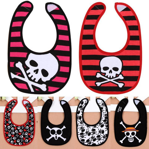 PINkart-USA Baby Novelty Skull Bibs Boys Kids Infant Cotton Waterproof Burp Cloths Striped Baby Girls Fashion