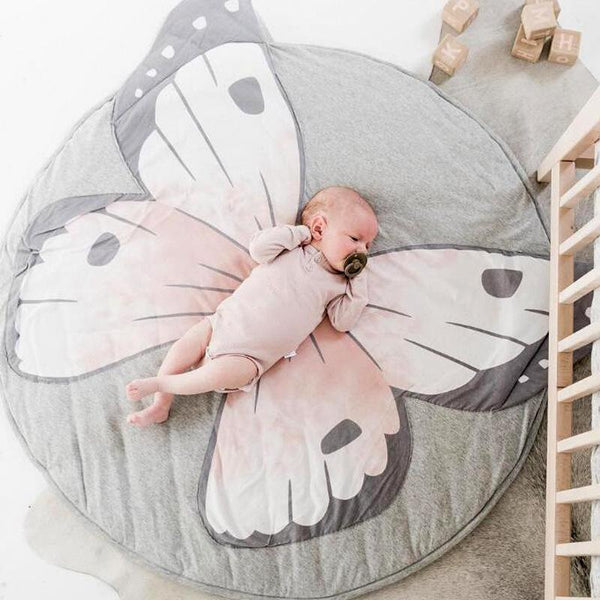 PINkart-USA Baby Play Mats Kid Crawling Carpet Floor Rug Baby Bedding Butterfly Blanket Cotton Game Pad