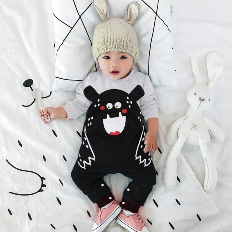 PINkart-USA Baby Rompers Infant Clothes Winter Cute Ears Cartoon Print Jumpsuit Outfits Winter Keep Warm