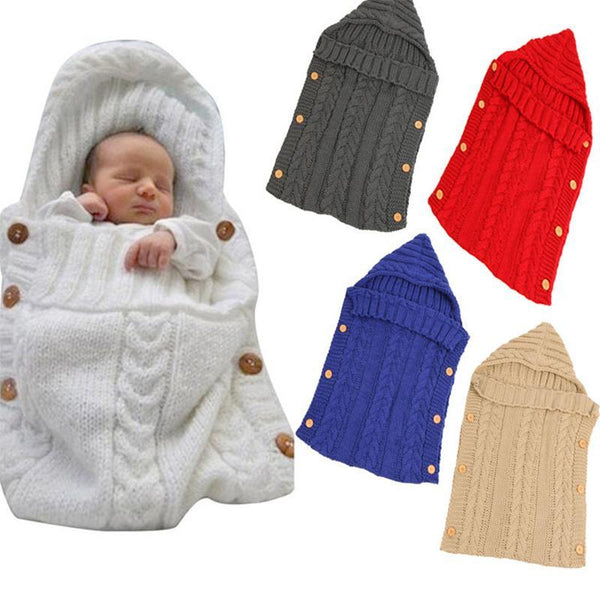 PINkart-USA Baby Sleeping Bag Born Knit Crochet Winter Hooded Stroller Swaddle Blanket Soft Solid Wrap