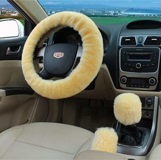 PINkart-USA Beige 100% Wool Braid On The Steering Wheel Cover Of Car Handbrake Grip /High Quality Wool Plush Gear