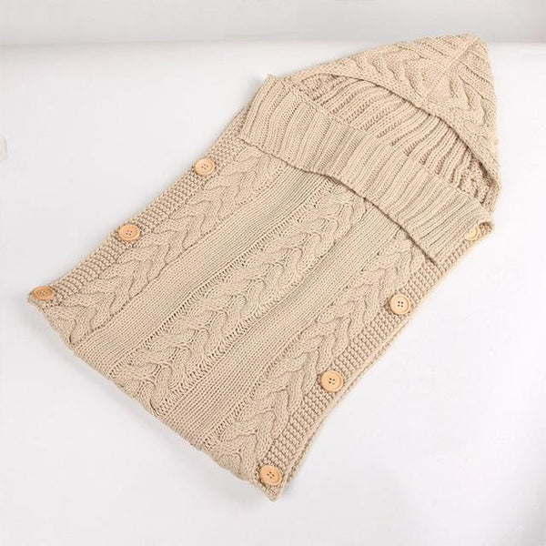 Baby Sleeping Bag Born Knit Crochet Winter Hooded Stroller Swaddle Blanket Soft Solid Wrap