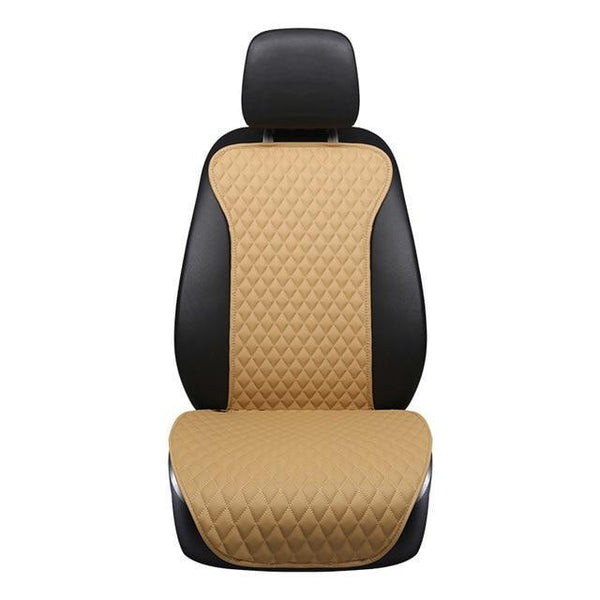PINkart-USA beige front 1pcs / China Brand New Not Moves Single Car Seat Cushions, Universal Pu Leather Non Slide Seats Cover Fits For
