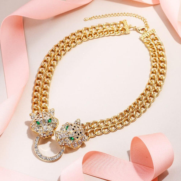 PINkart-USA Bella Fashion Panther Leopard Animal Choker Necklace Austrian Crystal Rhinestone Statement Necklace