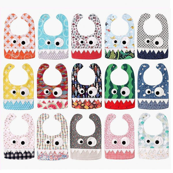 PINkart-USA Big Eye Monster With Cute Teeth Design Baby Bibs Soft Infant Saliva Towel Toddler Absorbent Bandana