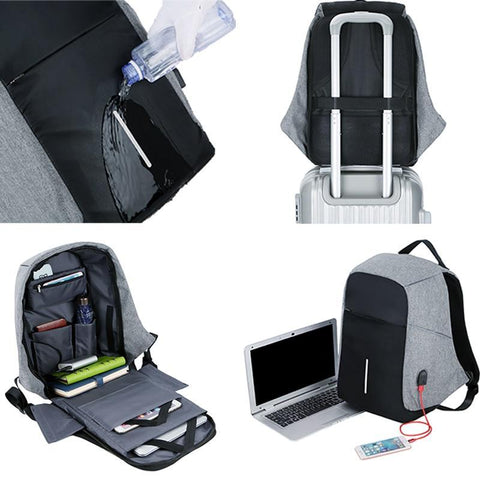 PINkart-USA Black and gray Men Anti Theft Backpack Usb Charging 15.6 Laptop Backpack Multifunction Waterproof Travel Bagpack Women High Quality School Bag